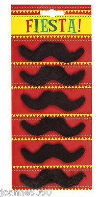 PACK OF 6 BLACK MEXICAN MARIO 70s TASH MOUSTACHE 118 FREDDIE MERCURY FANCY DRESS