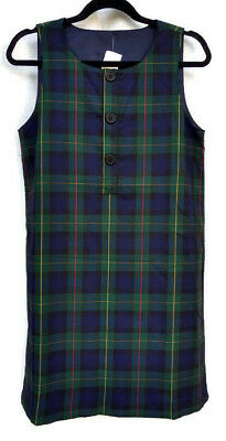 Lands End girls hunter classic navy plaid school uniform jumper lined size 8 -