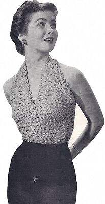 Vintage Knitting PATTERN Knitted Ribbon Halter Suit Camisole Summer Top 1950s Camisole Knitting Patterns