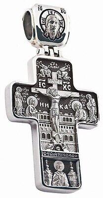 Russisch-Orthodoxe 925 Silber Kreuz Anhänger JESUS CHRISTUS Neu