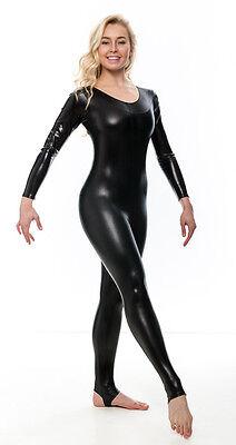 Damen Glänzend Metallisch Halloween Kostüm Catwomen Langärmeliger Catsuit KDC012