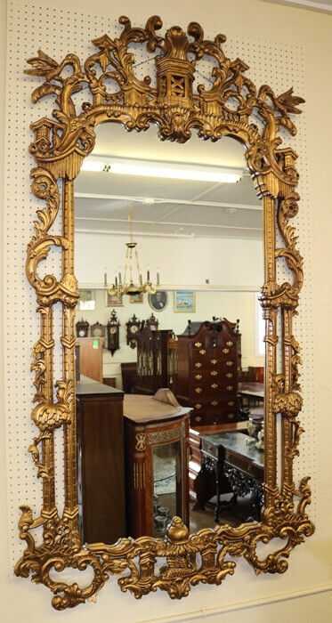 Incredible Large Monumental Chinese Chippendale Style Gold Mirror