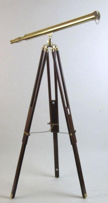 HARBORMASTER BRASS TELESCOPE ON TRIPOD - TELESCOPE WOODEN TRIPOD - NAUTICAL