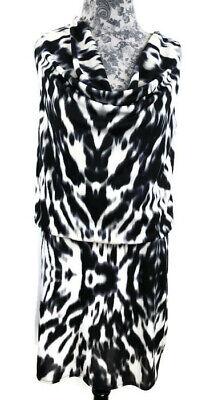 Men's 1920s Style Ties, Neck Ties & Bowties Kenneth Cole New York Blouson Dress Womens Size S Black Gray Tie Dye Pattern $14.58 AT vintagedancer.com