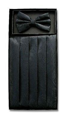 Cumberbund & BowTie Solid BLACK PAISLEY Color Men's Cummerbund Bow Tie Set