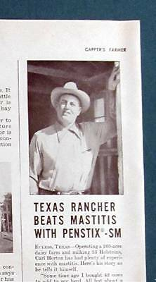 For sale Original 1951 Animal Care Ad Photo Endorsement by Carl Horton of Euless Texas