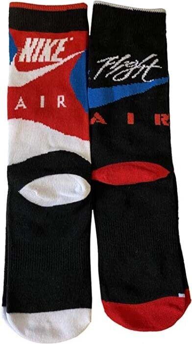 2 Pair Boys Little Kids Nike Air Jordan Flight Crew Socks White Black Red Blue