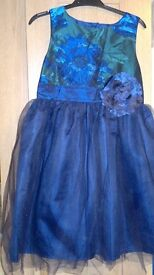 Girl's TU Dress Blue and Green Age 9 Years (134cm)