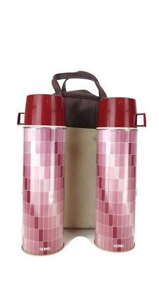 Vintage Dusty Rose Thermos Picnic travel Set 2 Vacuum Bottles & Bag