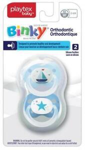 Ensemble de 2 suces Binky orthodontiques de Playtex Baby avec tétine en silicone et sans BPA pour les bébés de 6 mois et