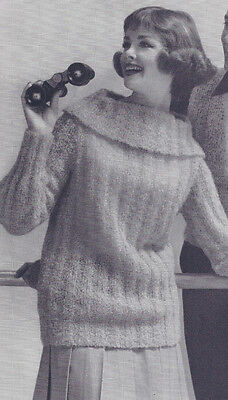 Bulky Sweater Patterns - Vintage Knitting PATTERN Knitted Turtle Neck Mohair Bulky Sweater