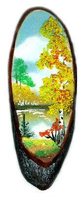 Landscape Painting Genuine Semi-Precious Gems Russian Siberia Artisan Autumn
