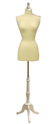 Adult Female Dress Form Pinnable Mannequin Torso Size 6-8 With White Wooden Base