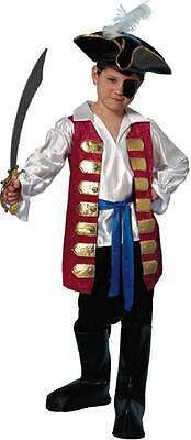 Mighty Pirate Captain Caribbean Colonial Red Dress Up Halloween Child Costume