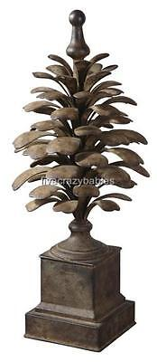 Elegant Large Outdoor Pine Cone Finial Patio Sculpture Indoor Decor Metal Luxury