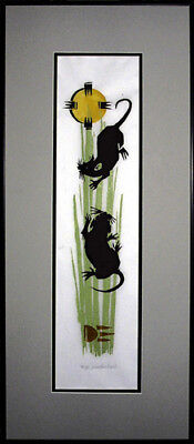 EQUINOX MICE WOODCUT FRAMED ART PRINT HAND SIGNED AND NUMBERED WITH COA - Equinox Framed