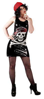 Halloween Costumes Black Sequin Shorts (Ladies Short Sparkly Pirate Skull Party Dress Sequin Halloween Costume NEW)