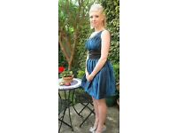 Royal blue Prom dress and handmade matching tiara. Immaculate condition, fits size 10-12.