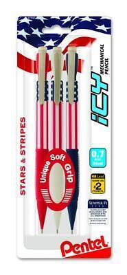 Pentel Icy Stars Stripes Mechanical Pencils 0.7 Med Lead 3 Pack Al27usabp3m