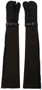 Sacai Black Long Lux Shearling Gloves