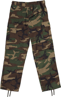 Mens Woodland Camouflage Military BDU Pants Camo Cargo Fatigues Bottoms Trouser