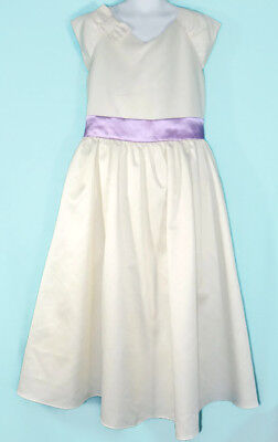American Girl Fancy Occasion Dress Size 12 Girls Ivory Party Easter Purple Bow - Girls Easter Dresses Size 12