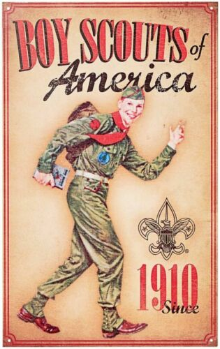 2 SET LOT BOY SCOUTS OF AMERICA 1910 + SCOUT OATH LAW BIG METAL COLLECTORS SIGNS