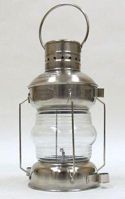 Anchor Oil Lantern ~ Aluminum w/ Chrome Finish ~ Nautical Maritime Ship Lamp