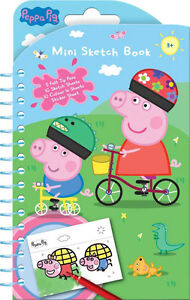 Kids Peppa Pig Mini Sketch Book Set Stickers Colouring Party Bag Fillers Gift
