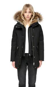 XXS Black Mackage Marla Winter Down Parka Jacket/Coat with Fur