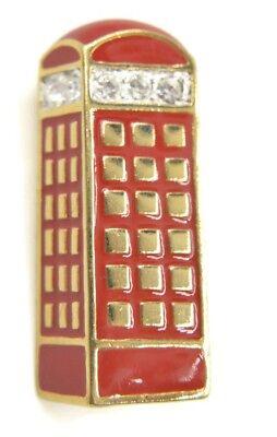 Whimsical Red Enamel Classic British Telephone Box Brooch Rhinestones  British Classic Jewelry