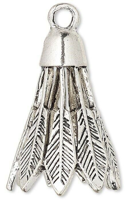 4 Antiqued Silver Plated Pewter 25x18mm Feather Cone Caps