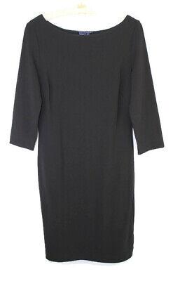 Boatneck Pullover Kleid (Boston Proper S Black 3/4 Sleeve Boat Neck Ponte Knit Pullover Sheath Dress)