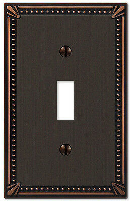 IMPERIAL BEAD ANTIQUE BRONZE SINGLE (1) TOGGLE SWITCHPLATE (Antique Bronze 1 Toggle)