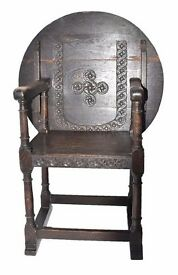 RARE GENUINE ANTIQUE GOTHIC JACOBEAN HAND CARVED METAMORPHIC ARMCHAIR TURNS INTO A TABLE V.G.C.