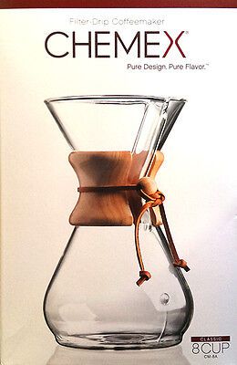 Chemex 8 Cup Coffeemaker - Glass Pour Over with Bamboo Collar