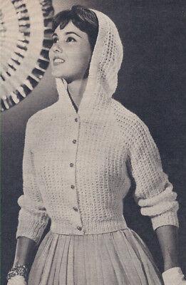 Vintage Knitting PATTERN to make Hooded Sweater Jacket Cardigan EveningHooded
