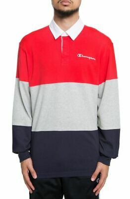 Champion Rugby - Champion Men's Color Blocked Rugby Polo in Americana Red Grey Blue SZ S-XXL USA