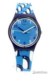 New Swatch Originals IGINO Small Penguins Blue Silicone Watch 33mm GN246 $60