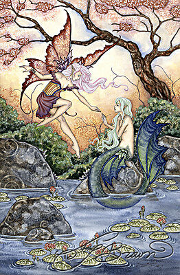 Amy Brown Fantasy Art Print Fairy Faery Mermaid The Introduction 8.5x11""