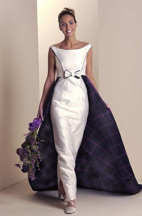 Silk And Tartan Wedding Dress By Storm Joyce Young Size 8 10 In