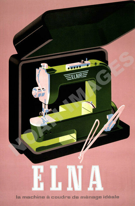 Elna vintage sewing machine ad poster repro 16x24
