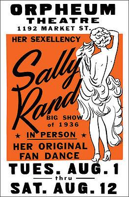 """SALLY RAND Burlesque Strip Tease 1936 """"Her Sexellency"""" Show Poster"""