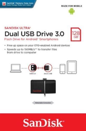 SanDisk Ultra Dual 128GB Micro USB/USB 3.0 Type A Flash Drive Black SDDD2-128G-A46