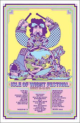 JIMI HENDRIX DOORS WHO Isle Wight 1970 Concert Poster