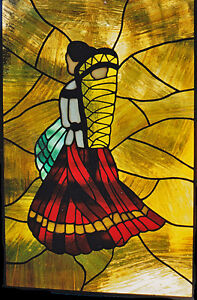 Native Lady & Papoose in Stained glass For Sale