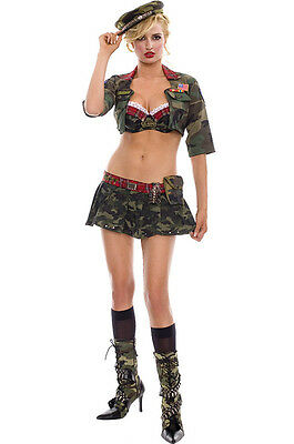 Sexy Women's Military Girl Halloween Camo Costume, Hat, Pouch, Toy Grenade - Camo Girl Halloween Costume
