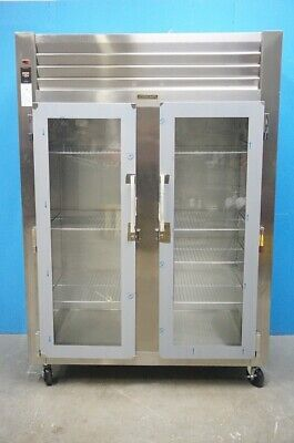 New Traulsen Two Section Glass Doors Reach In Heated Cabinet Model Aht232w-fhg