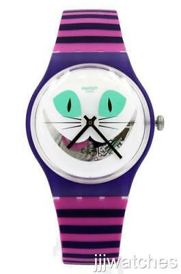 New Swatch Cat Me Up Silicone Pink/Purple Women Watch 42mm SUOW125 $80