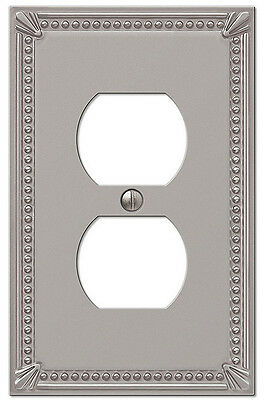 IMPERIAL BEAD BRUSHED NICKEL FINISH-SINGLE DUPLEX SWITCHPLATE WALLPLATE -